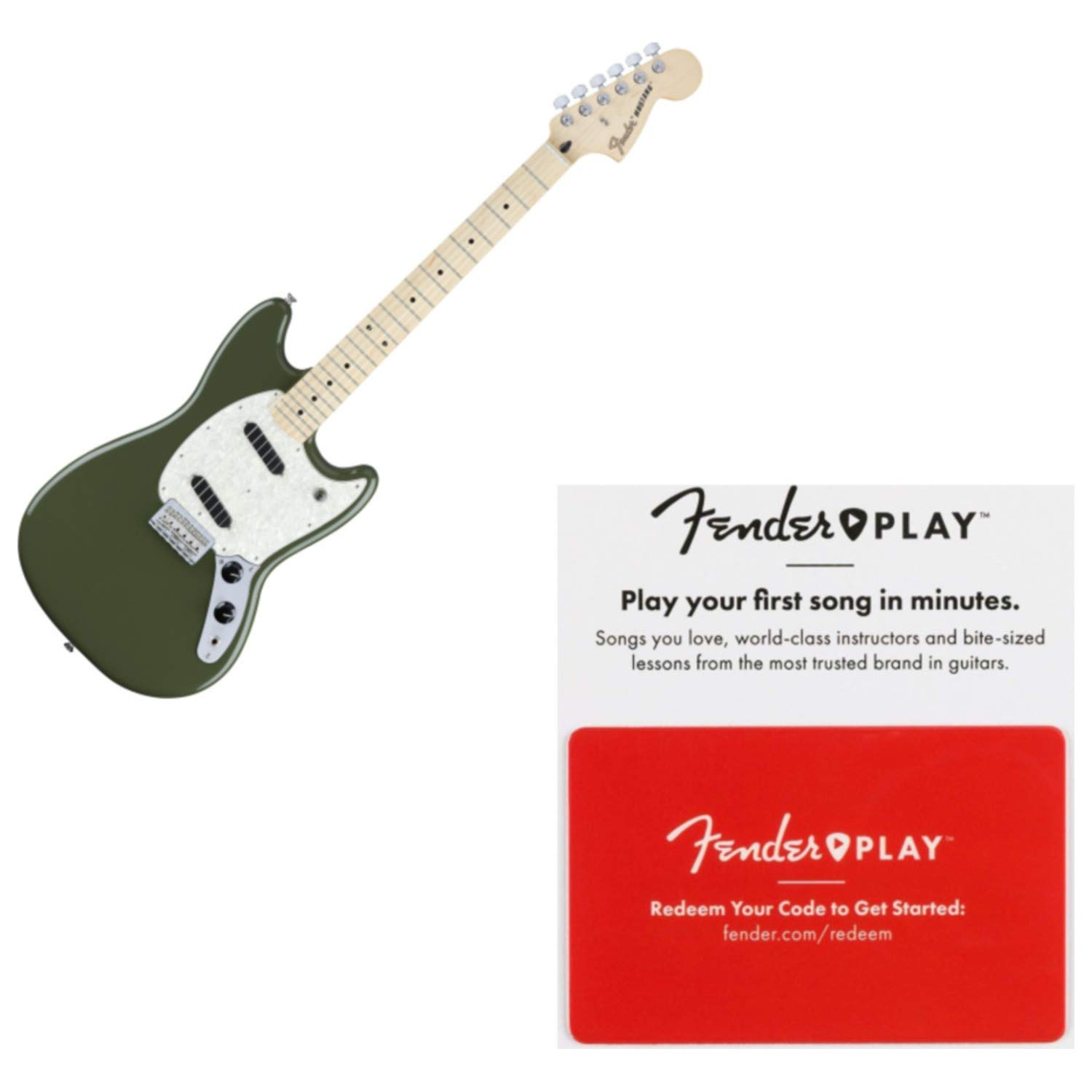 Cheap Fender Offset Series Mustang Maple Neck Olive Electric Guitar w/Fender Play Pre Black Friday & Cyber Monday 2019