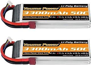 Youme Power 3S LiPo Battery Pack, 11.1V RC Lipo 3300mAh 50C Deans T Plug for RC Car Truck Truggy Airplane UAV Drone FPV Glider 3D Plane Park Flyers Vortex 400mm X-Sled(2 Packs)