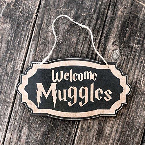 Welcome Muggles - Black Door Sign
