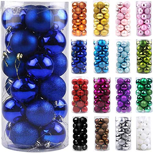Emopeak 24Pcs Christmas Balls Ornaments for Xmas Christmas Tree - Shatterproof Christmas Tree Decorations Hanging Ball for Holiday Wedding Party Decoration (Navy Blue, 1.2'-3.1CM)