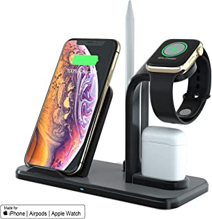 SPGUARD Soporte de Carga Para Apple Watch Series 4/3/2/1, Cargador Inalámbrico para iPhone Max XS/Xs/XR/X/8/Plus/Airpods/Samsung Galaxy S10/S9/S8 y Teléfonos Qi-Enabled