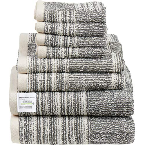 8-Pack Bamboo Bath Towels - 2 Bath Towels, 2 Hand Towels, and 4 Washcloths, Ultra Soft 500 GSM Bamboo Charcoal & Cotton Bathroom Towel Set, Absorbent & Soft Shower Towels, Easy Care Machine Wash Oeko
