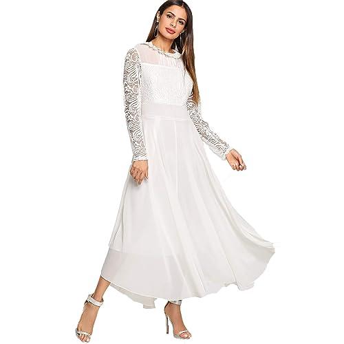 bf95cb12e009 White Long Sleeve Dress Lace Long Sleeve  Amazon.com
