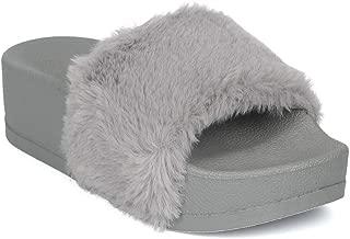 Women Faux Fur Flip Flop Platform Slide Slip On Flat Sandal Slipper IB68