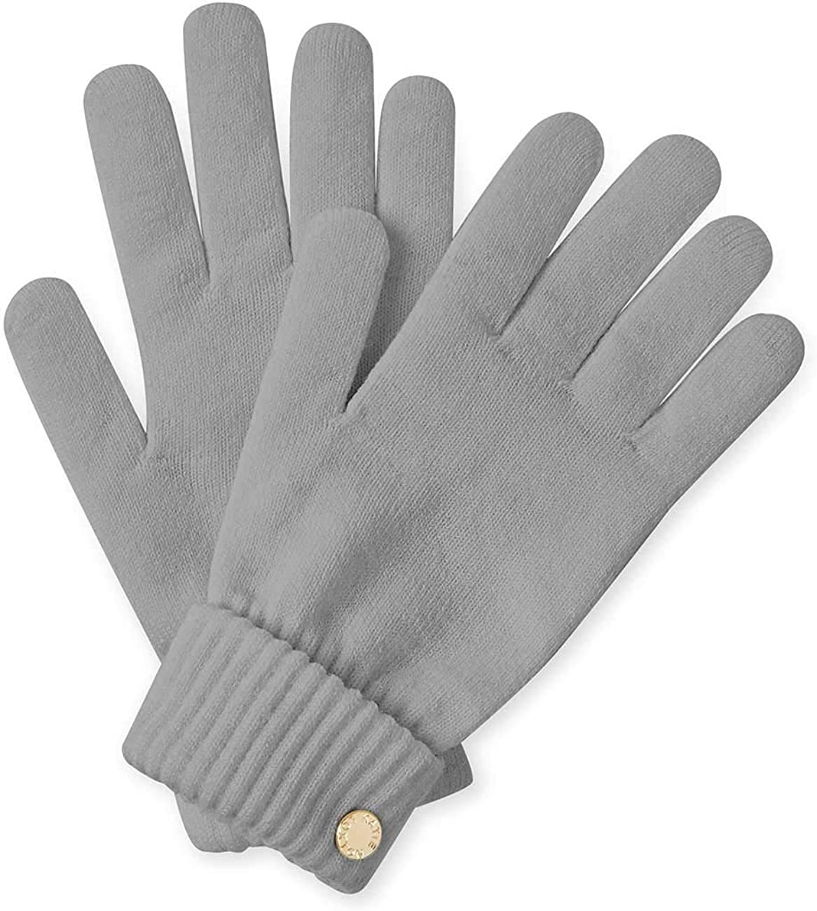 Katie Loxton Womens One Size Fits Most Chunky Knit Cuff Cold Weather Fashion Gloves in Grey