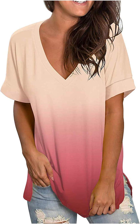 Handyulong Women Tops Summer Casual, Women T Shirts Short Sleeve V-neck Tees Gradient Print Workout Loose Tops Blouse Tee
