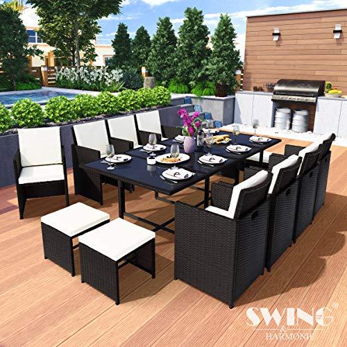 Swing & Harmonie Polyrattan Sitzgruppe Esstisch Lounge Sitzgarnitur Essgruppe Gartenmöbel Set (13-Teilig, Schwarz)