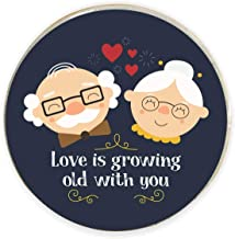 Yaya Cafe Valentine Gifts for Husband Wife Fridge Magnet Love is Growing Old with You Printed Blue - Round