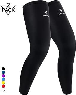 HOPEFORTH 1 Pair Leg Sleeves Compression Full Leg Knee Calf Sleeves Warmers UV Protection for Men Women Youth Basketball Football