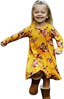 Goodlock Toddler Infant Kids Fashion Dress Baby Girls Dress Floral Print Sun Dresses Clothes Outfits