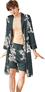 Men's Satin Robe with Shorts Nightgown Soft Printed Bathrobes Pajamas Sleepwear