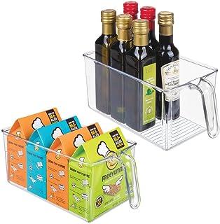mDesign bac de rangement pour cuisine (lot de 2) – grand bac alimentaire ouvert en plastique avec poignée intégrée – range...