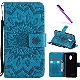 Moto G4 Play Case,Moto G Play Case 4th Generation,LEECOCO Fancy Embossed Floral Pattern Wallet Case with Card/Cash Slots PU Leather Flip Stand Case for Motorola Moto G4 Play Mandala Blue