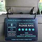 """Nebudo Compatible with Lyft Uber (2-Pack) Tips Rating Appreciated Rideshare Accessories – 7"""" x 5"""" – Interior Acrylic Headrest Sign - Rate Me Tip No Smoking for 5 Star Rides for Ride-share Drivers"""