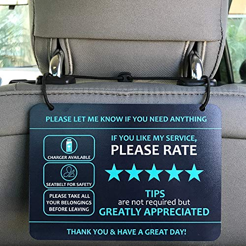 """Nebudo Compatible with Lyft Uber (2-Pack) Tips Rating Appreciated Rideshare Accessories – 7"""" x 5"""" – Interior Acrylic Headrest Sign - Rate Me Tip No Smoking for 5 Star Rides for Ride-Share Drivers…"""