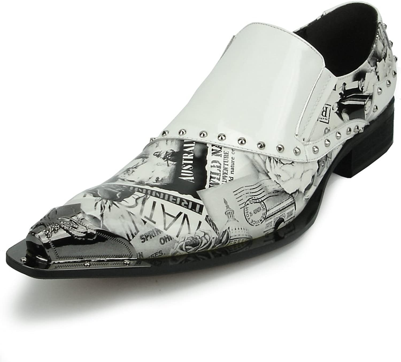Fiesso by Aurelio Garcia FI-6864 White Black Slip on Loafer Metal Tip - European shoes Designs