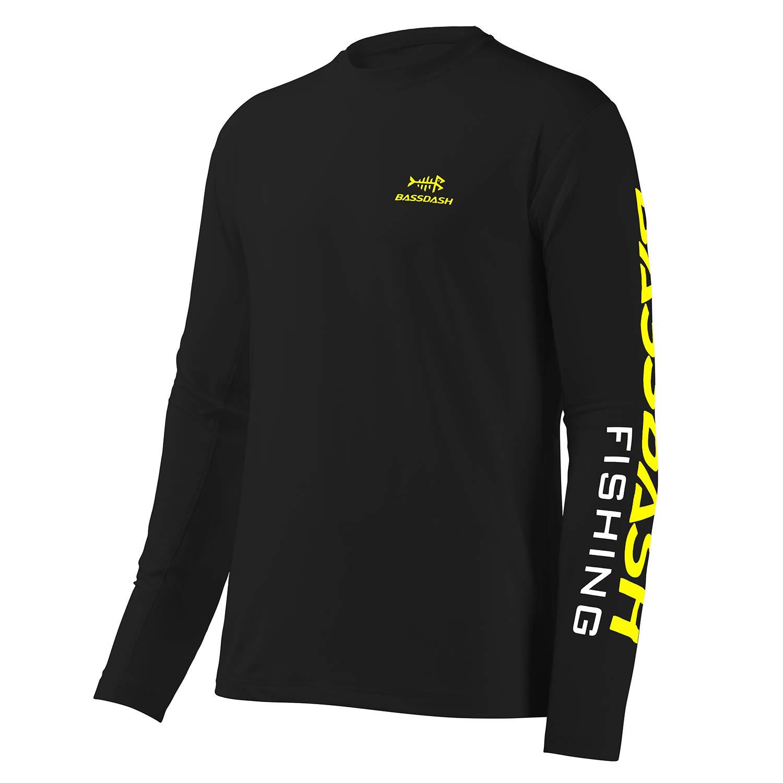 Camiseta de pesca Bassdash para hombre con protección solar UV UPF 50+ Camiseta de manga larga, color Logotipo negro/amarillo., tamaño extra-large: Amazon.es: Deportes y aire libre