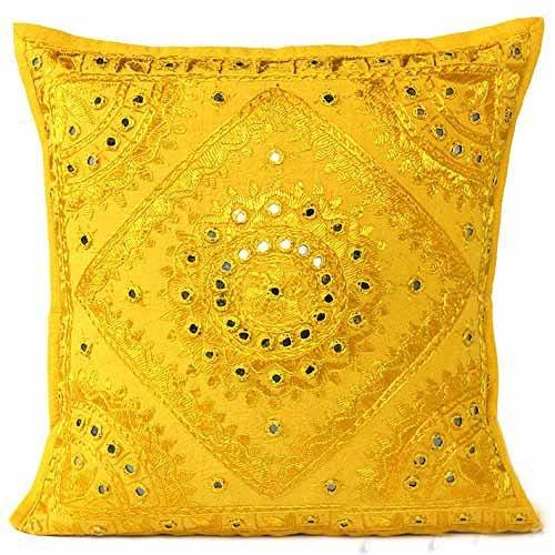 61 cm Large brodée décoratifs Canapé Coussin Throw Taie d'oreiller Boho Décor Bohème (Jaune))