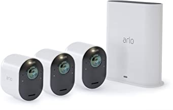 Arlo Ultra - 4K UHD Wire-Free Security 3 Camera System | Indoor/Outdoor with Color Night Vision, 180° View, 2-Way Audio, Spotlight, Siren | Works with Alexa and Homekit | (VMS534)