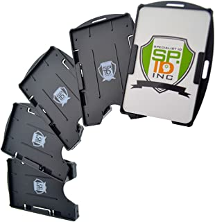 Premium Badge Holder 5 Pack - Open Face 2 Card ID Badge Holders - Hard Rigid Plastic - Vertical or Horizontal - by Specialist ID (Black)