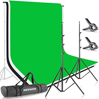 Neewer 6.5x9.8ft/2x3M Background Stand Backdrop Support System with 6x9ft/1.8x2.8M Muslin Backdrop (White, Black, Green), Clamps and Carrying Bag for Portrait,Product Photography and Video Shooting