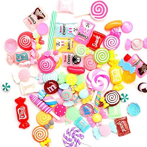 Hileyu - Ciondoli assortiti in resina per slime, caramelle, caramelle, dolci, fai da te, artigianato, accessori per scrapbooking, multicolore, 60 pezzi