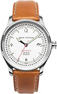 Men's Automatic Watch Nautical Tan Italian Leather Strap JM-N103-001