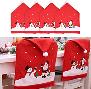 MOSTOP Santa Hat Chair Covers, Set of 4 PCS Santa Clause Red Hat Chair Back Covers for Christmas Holiday Festive Decor Home Restaurant Bar Party