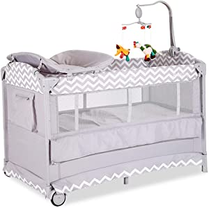 Defeng Portable Foldable Crib Multifunctional Children s Play Bed Sleeping Cots Travel Cot  Color GRAY  Size 125X73X77CM