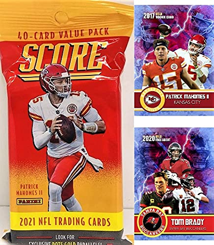 2021 Score NFL Football Factory Sealed JUMBO FAT PACK with 40 Cards Including (6) RC & (7) PARALLEL/INSERTS! Plus NEW Patrick Mahomes and a Tom Brady Custom Football Cards!
