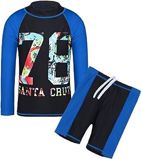 TFJH Kids Boys UPF 50+ UV Sun Protective Long Sleeve Two Piece Swimsuit Black 14A