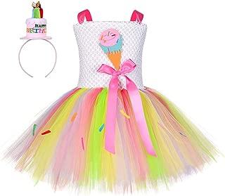 Tutu Dreams Happy Birthday Ice-Cream Cone Costume for Girls 1-12Y Rainbow Tutu with Headband
