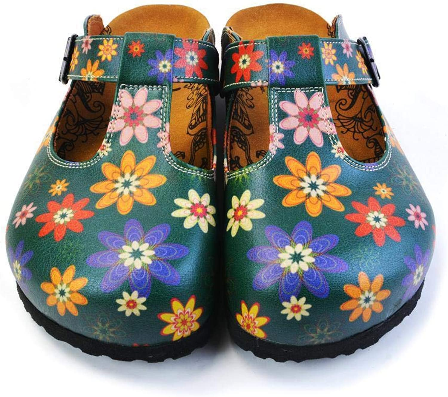 GOBY Women's shoes ''Green Floral Clogs'' Sandals 'CAL1504'