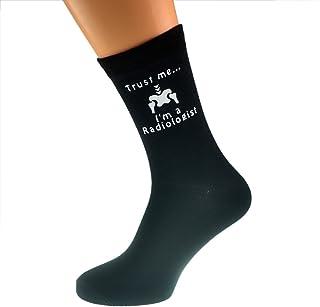 Trust me I'm a Radiologist & Skeleton Image Design Mens Black Cotton Rich Socks