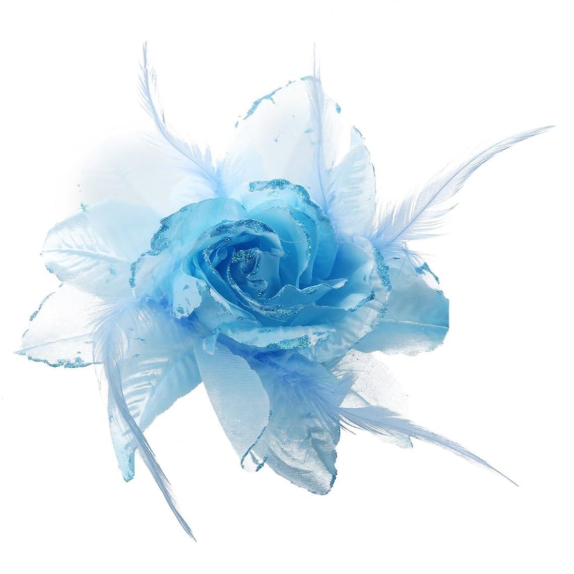 登山家極小排泄物SODIAL(R) 240x180mm青い花のフェザーファブリックブローチ 装飾 女性のため イブニングドレス