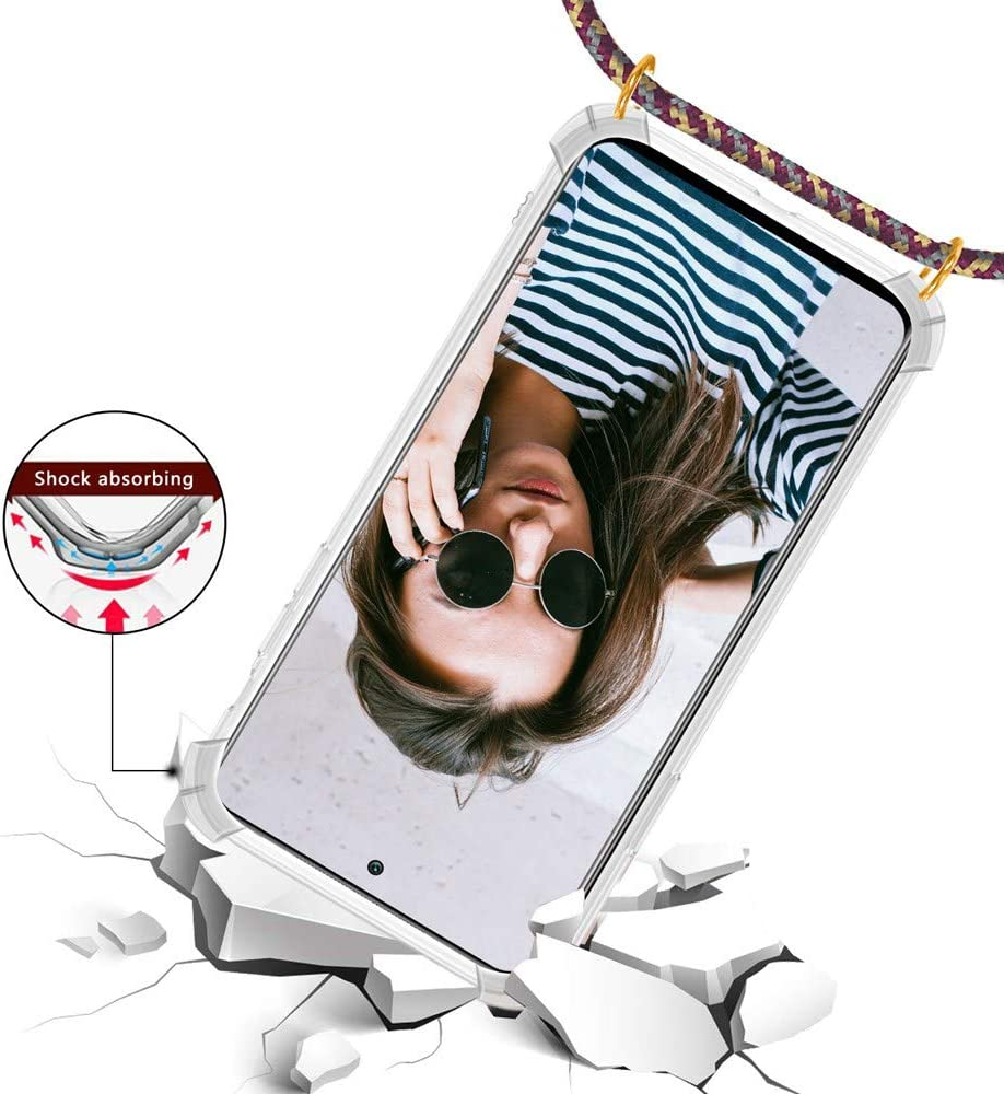 Moda y Practico Funda para Xiaomi Mi 10T Lite con Cuerda - Oro Rosa Ultrafina Suave Silicona TPU Transparente Carcasa de movil con Colgante Anti-rasgu/ños Anti-Choque