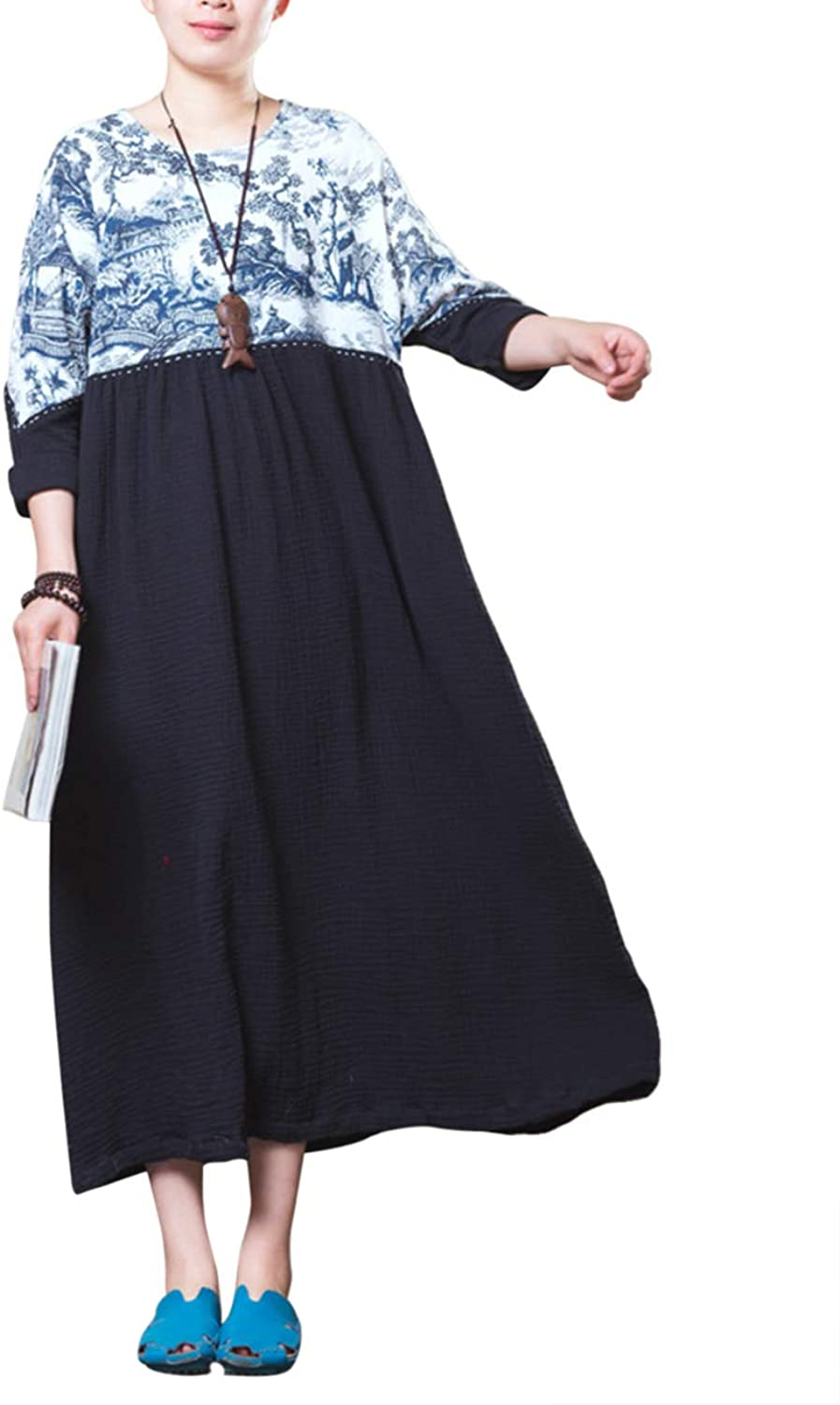 Zhhlinyuan Stylish Long Sleeve Casual Dresses  Loose Beach Print Summer Long Dress