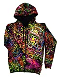 PSYWORK Schwarzlicht Hoodie Neon Happy Shroom, Gr. S