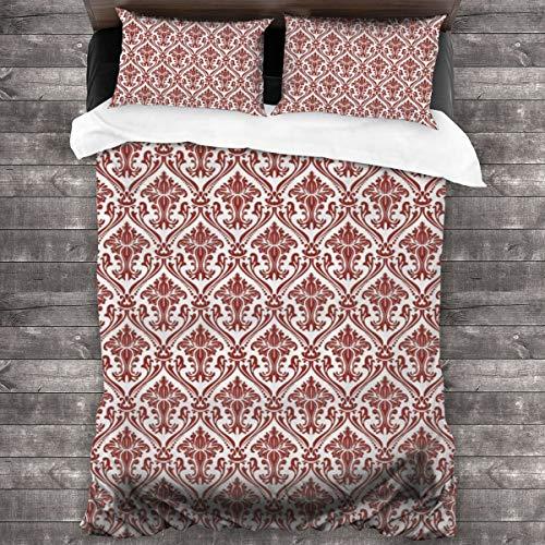 Duvet Cover Set 3 PCS,Victorian Theme Creative Special Selection Matelasse Effect Home Decoration Modern Bathroom Art Decor Interior Digital ,Bedding Duvet Cover with 2 Pillowcases(Single 135x210cm)