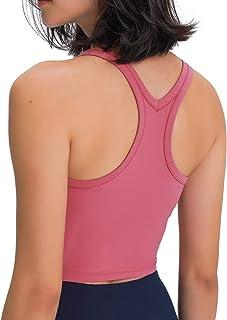 Lavento Women's Longline Sports Bra Yoga Racerback Crop Top with Built in Bra