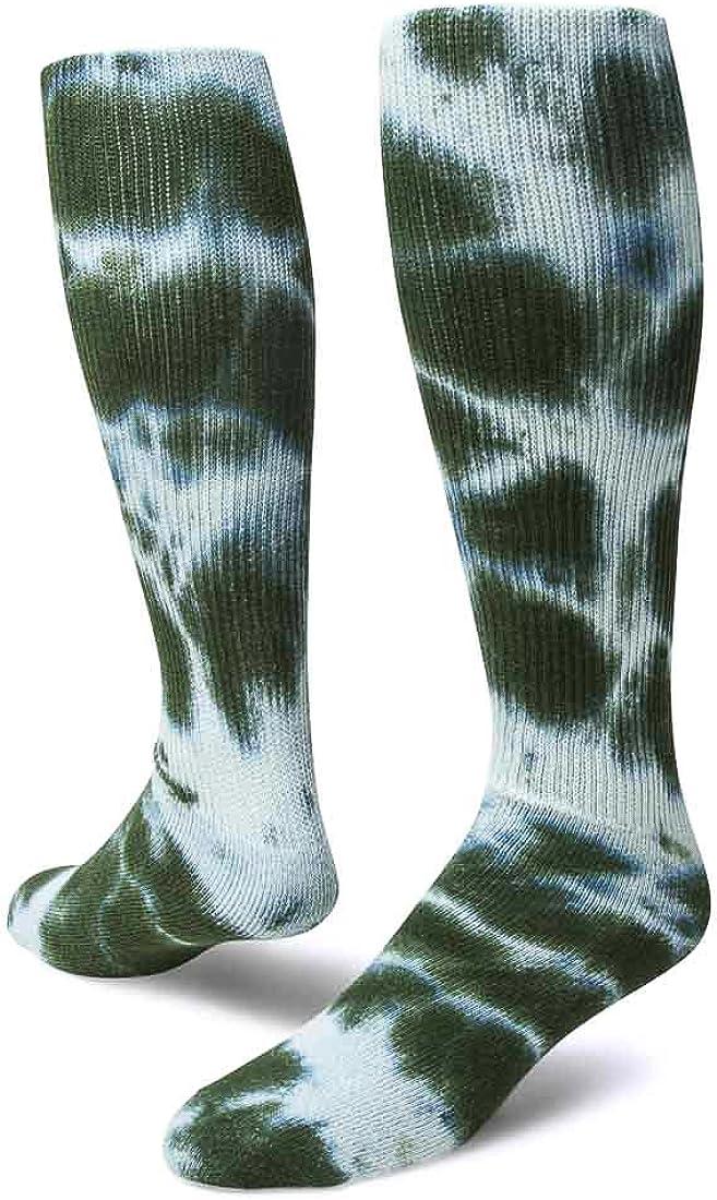 Red Lion Revolution Tie Dye Cotton Athletic Tube Socks ( Dark Green Tie Dyed - Large )