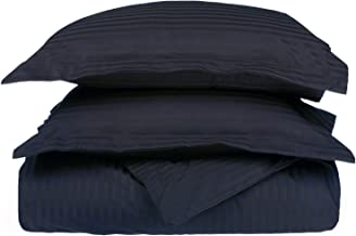 100% Egyptian Cotton 650 Thread Count Full/Queen 3-Piece Duvet Cover Set, Single Ply, Stripe, Navy Blue