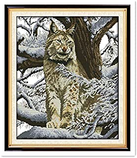 Snow leopard 11CT Printed On Canvas Chinese Counted Cross Stitch Patterns Kits Needlework Kits Home Decor (11CT White Canvas)