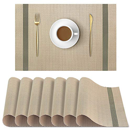 UMORNING Place Mats Non-Slip Insulation Kitchen Brown PVC Placemats Heat Insulation Stain-Resistant Dinning Table Mats Set of 8