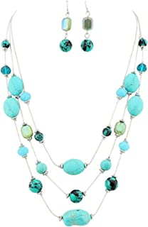 Firstmeet Fashion 3 Layer Stone Beads Steel Wire Choker Necklace Jewelry Set for Women