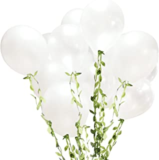Funpa 100PCS Latex Balloon White Round Balloon Pearlized Party Balloon Decor Balloon Wedding