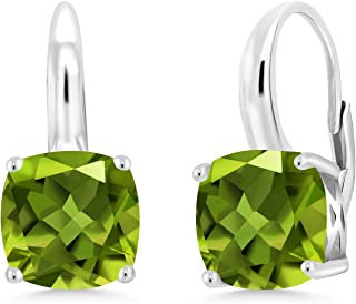 925 Sterling Silver Rhodium-plated 7x5mm Rectangle Peridot August Stone Leverback Dangle Earrings