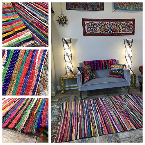 Second Nature Online Shanti Small Multi Colour Rag Rug Flat Weave with Recycled Fabric GoodWeave Accredited 60 cm x 90 cm