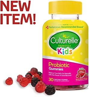 Culturelle Kids Daily Probiotic Gummies   Prebiotic + Probiotic   from The #1 Pediatrician Recommended Brand   Works Naturally to Help Maintain a Healthy Tummy  Gluten Free   Berry Flavor   30 CT