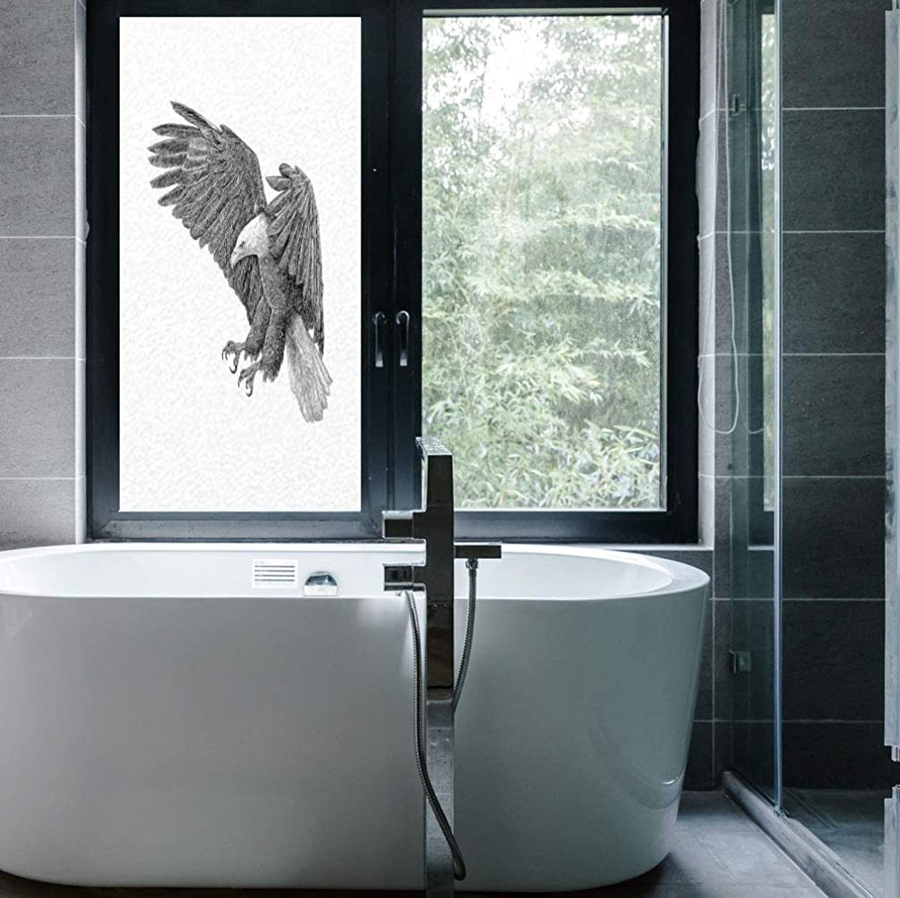 YOLIYANA Static Cling Decorative Window Film,Eagle,Suitable for Kitchen, Bedroom, Living Room,Black and White Pencil Drawing Style Eagle with,24''x48''